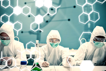 protective suit: Chemists working in protective suit with futuristic interface showing DNA diagram against science formula Stock Photo