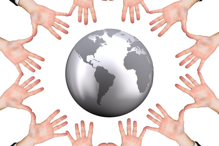 redecorating: Circle of hands against silver earth Stock Photo