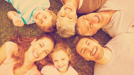 abuelos: Retrato del alto ángulo de una gran familia que miente en círculo en el parque