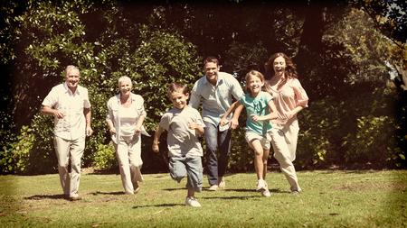 árbol genealógico: La familia feliz múltiples generación corriendo hacia la cámara en el parque en día soleado