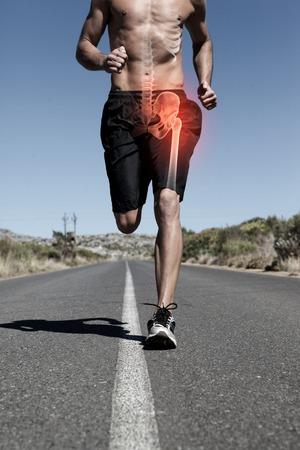 bone health: Digital composite of Highlighted hip bone of running man