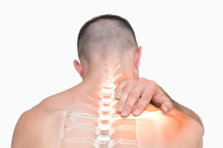 digital composite: Digital composite of Highlighted shoulder pain of man