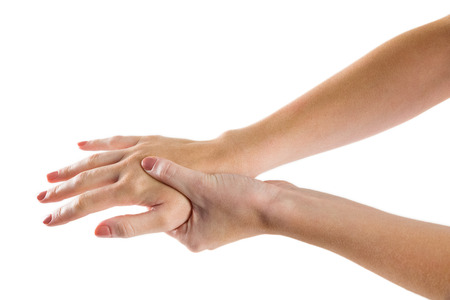 carpal tunnel: Woman with hand injury on white background