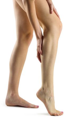 leg injury: Woman with leg injury on white background