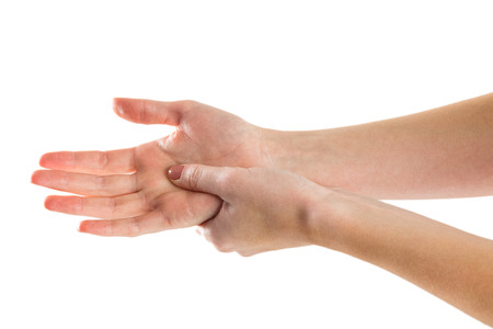 hand rubbing: Woman with hand injury on white background