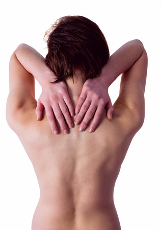 neck injury: Nude woman with a neck injury on white background