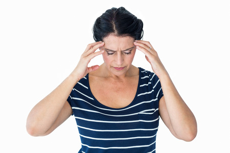 Woman having migraine on white background photo