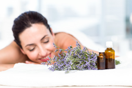 Smiling woman getting an aromatherapy treatment in a healthy spa Stok Fotoğraf - 44770048