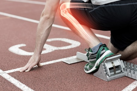 digital composite: Digital composite of Highlighted bones of man about to race Stock Photo