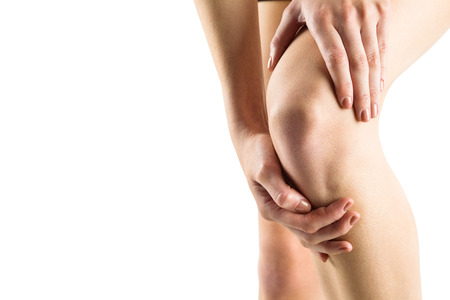 fits in: Woman with knee injury on white background