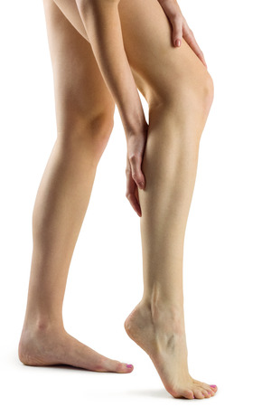 fits in: Woman with leg injury on white background