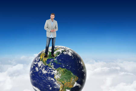 suave: Suave man in a blazer against blue sky over clouds