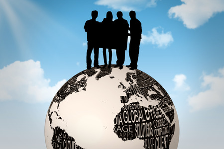 incidental people: Silhouette of team holding a poster against blue sky