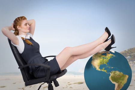 swivel: Businesswoman sitting on swivel chair against beautiful beach and blue sky Stock Photo