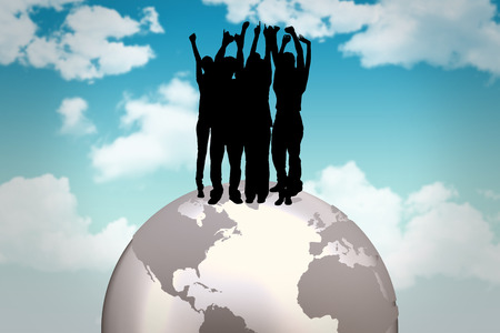 cheering people: Silhouette of cheering people against blue sky Stock Photo