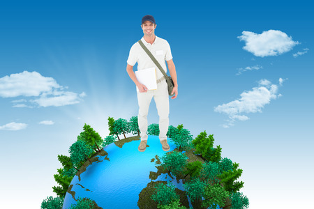 tree world tree service: Happy courier man holding envelops against blue sky