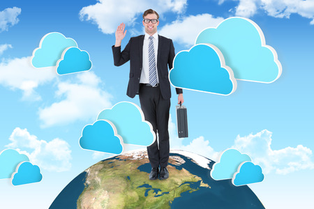 cheesy grin: Geeky hipster businessman waving at camera  against two blue clouds for cloud computing