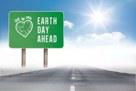 ahead: earth day ahead against open road Stock Photo