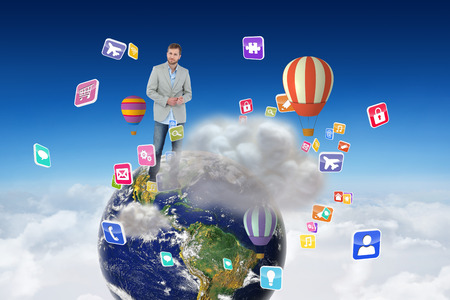 suave: Suave man in a blazer against cloud computing graphic with hot air balloons
