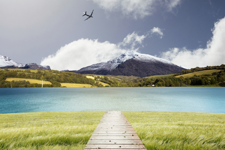 graphic: Graphic airplane against scenic backdrop Stock Photo