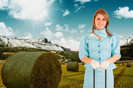 hotesse de l air: H�tesse de l'air contre la toile de fond pittoresque