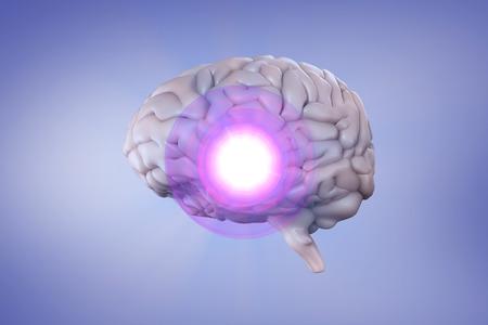 vignette: brain against purple vignette Stock Photo