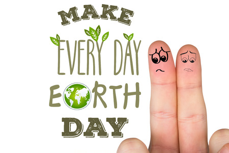 unhappiness: Sad fingers against earth day graphic