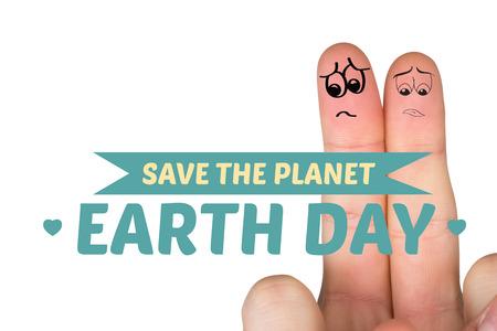 desolaci�n: Dedos Sad contra salvar el planeta Foto de archivo