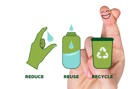 reduce reuse recycle: Smiling fingers against reduce reuse recycle Stock Photo