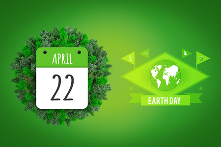 calendar day: april 22nd against green vignette Stock Photo
