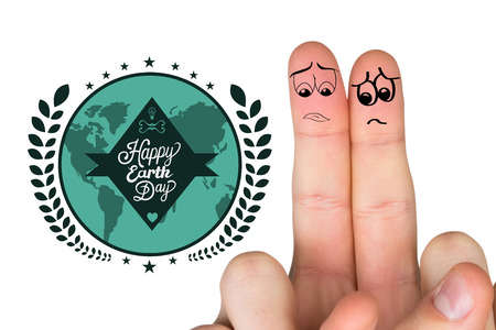 apprehensive: Sad fingers against happy earth day graphic