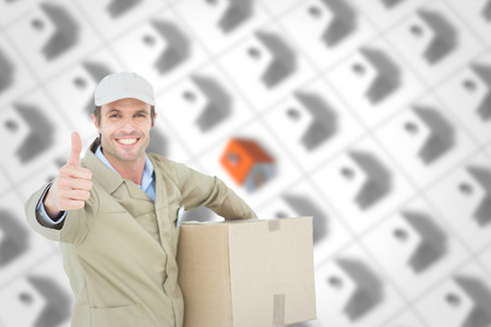 carrying box: Happy delivery man gesturing thumbs up while carrying box against one red roofed 3d house surrounded by many