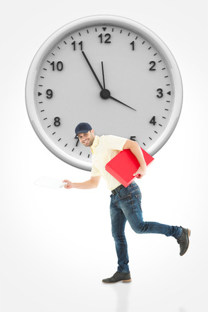 against the clock: Delivery man with red box running on white background against clock