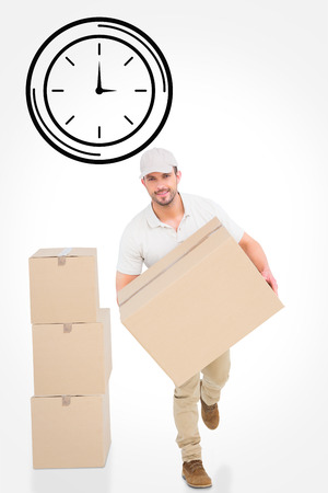 against the clock: Delivery man with cardboard box running against clock Stock Photo