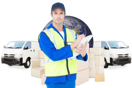 supervisor: Confident supervisor writing notes on clipboard against logistics graphics