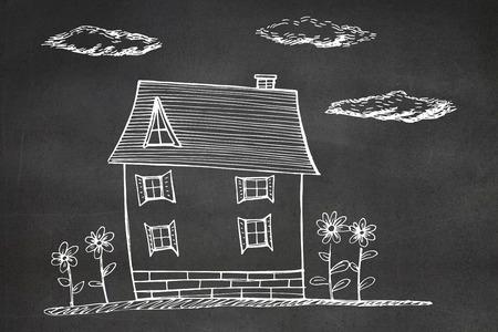 mur noir: Main maison dessin�e contre le mur noir