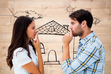 not talking: Upset young couple not talking against bleached wooden planks background