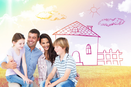 laps: Children sitting on parents laps over white background against blue sky over green field