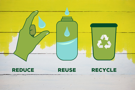 reduce reuse recycle: Reduce reuse recycle against yellow paint on fence