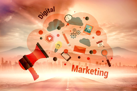 digital illustration: Digital marketing graphic against sun shining over road and city Stock Photo