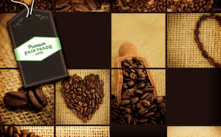 indent: Fair Trade graphic against collage of coffee beans Stock Photo