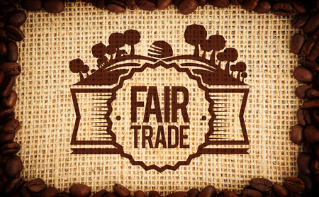 indent: Fair Trade graphic against frame of coffee beans