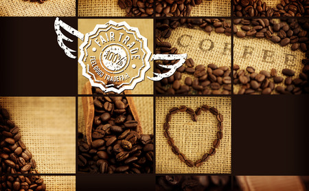 indent: Fair Trade graphic against various pictures with beans Stock Photo