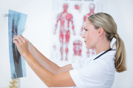 concentrate on: Concentrate doctor looking at X-Rays in medical office Stock Photo