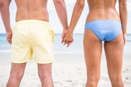 romantic sexy couple: Happy couple holding hands and looking at the sea at the beach