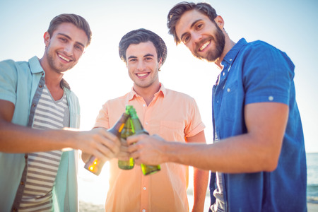 Handsome men toasting at the beach Stock Photo