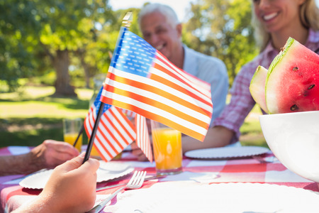 barbecue: Familia feliz que tiene comida campestre y sosteniendo la bandera estadounidense en un d�a soleado