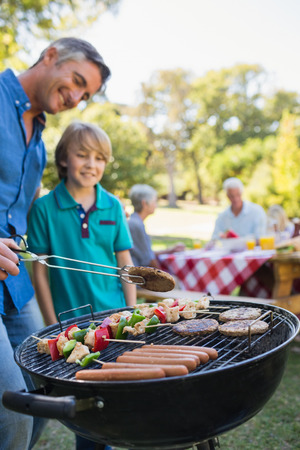 Happy father doing barbecue with his son on a sunny day
