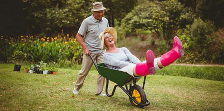 seniors: Happy senior couple playing with a wheelbarrow in a sunny day Stock Photo