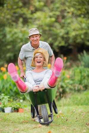 wheelbarrow: Happy senior couple playing with a wheelbarrow in a sunny day Stock Photo